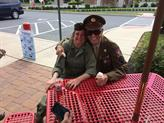 T5 Harold Billow, Malmedy Massacre Survivor and Vol. Hain-Matson have Ice cream after the Mount Joy parade.